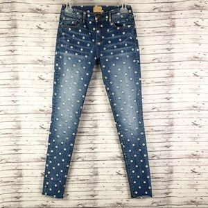 Driftwood Embroidered Skinny Crop Ankle Jeans 25